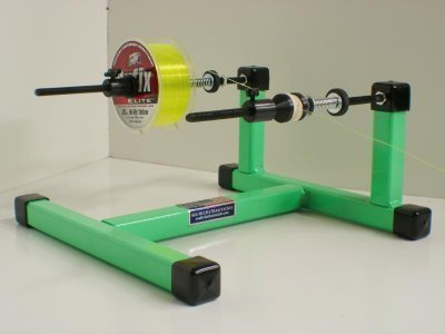 Super spooler line spool holder green south chatham tackle for Fishing line holder