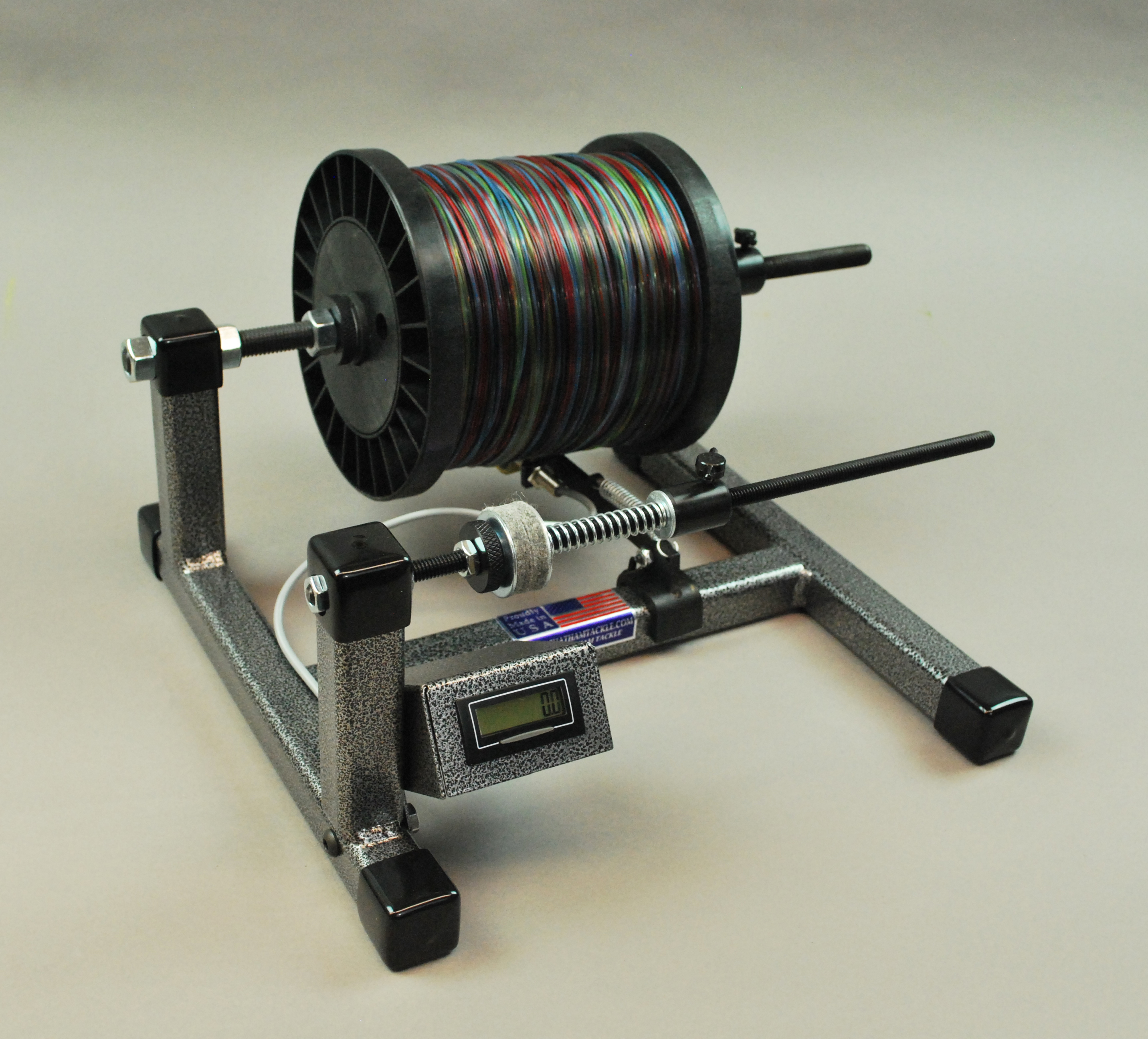 Super spooler heavy duty line spool holder with line for Fishing line holder